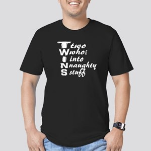 Naughty Twins Men's Fitted T-Shirt (dark)