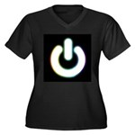 Power On (Dark) Women's Plus Size V-Neck Dark T-Sh