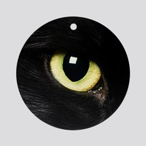 Black Cat Eyes Ornament (Round)
