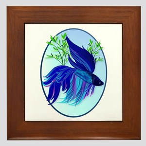 Big Blue Siamese Fighting Fis Framed Tile