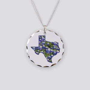 TX Bluebonnets Necklace Circle Charm