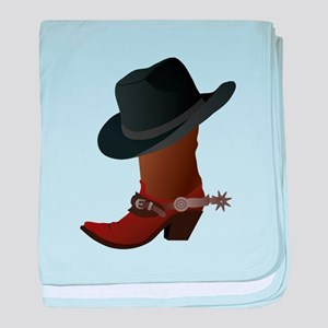 Western Boot & Hat Icon baby blanket
