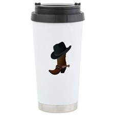 Western Boot & Hat Icon Stainless Steel Travel Mug