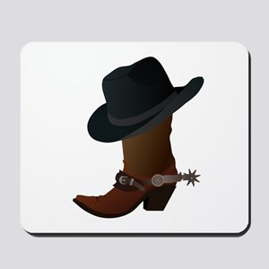 Western Boot & Hat Icon Mousepad