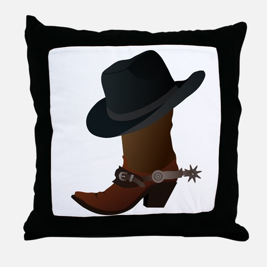 Western Boot & Hat Icon Throw Pillow
