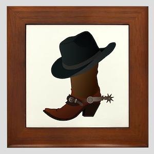 Western Boot & Hat Icon Framed Tile