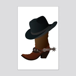 Western Boot & Hat Icon Mini Poster Print