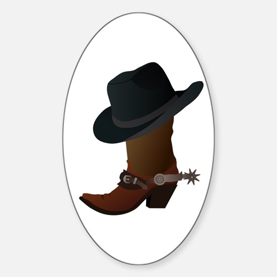 Western Boot & Hat Icon Sticker (Oval)