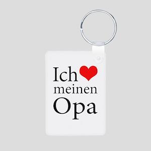 I Love Grandpa (German) Aluminum Photo Keychain
