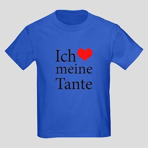 I Love Aunt (German) Kids Dark T-Shirt