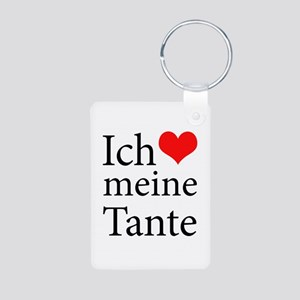 I Love Aunt (German) Aluminum Photo Keychain
