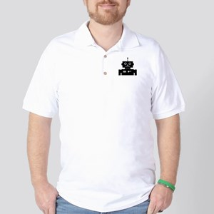 Retro Robot Shape Golf Shirt