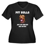 Pit Bulls Women's Plus Size V-Neck Dark T-Shirt