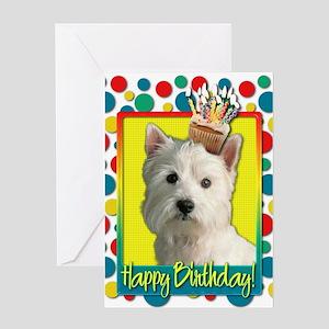 Birthday Cupcake - Westie Greeting Card