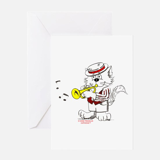Trumpet Cat: ALL PRODUCTS Greeting Card