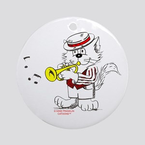 Trumpet Cat: ALL PRODUCTS Ornament (Round)