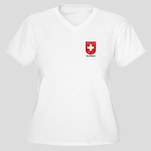 Schweiz Switzerland Shield Women's Plus Size V-Nec