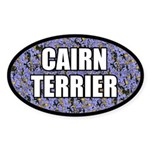Blue Floral Cairn Terrier Oval Sticker