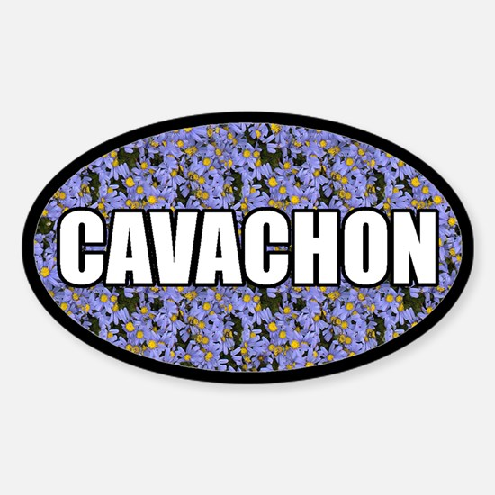 Blue Floral Cavachon Oval Decal