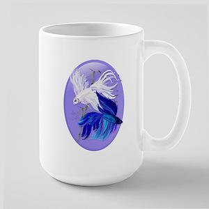 Blue 'n' White Siamese Fighti Large Mug