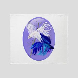 Blue 'n' White Siamese Fighti Throw Blanket
