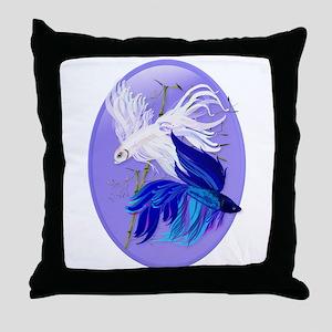 Blue 'n' White Siamese Fighti Throw Pillow
