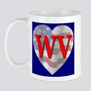 Love WV Flag Heart Mug