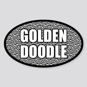 Silver Metallic Goldendoodle Oval Sticker