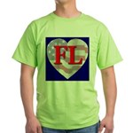 Love FL Flag Heart Green T-Shirt