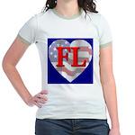Love FL Flag Heart Jr. Ringer T-Shirt