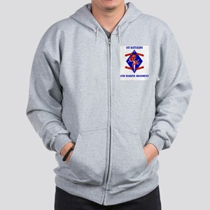 1st Battalion - 4th Marines with Text Zip Hoodie