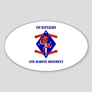 1st Battalion - 4th Marines with Text Sticker (Ova