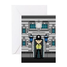 Policeman and Police Station Greeting Card