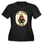 USS CUSHING Women's Plus Size V-Neck Dark T-Shirt
