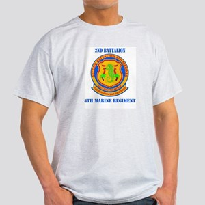 2nd Battalion 4th Marines with Text Light T-Shirt