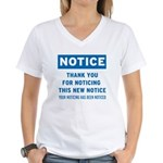 Notice! Thank You for... Women's V-Neck T-Shirt