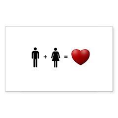 Man + Woman = LOVE Sticker (Rectangle 50 pk)