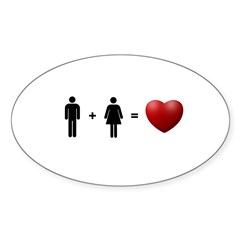 Man + Woman = LOVE Sticker (Oval 50 pk)