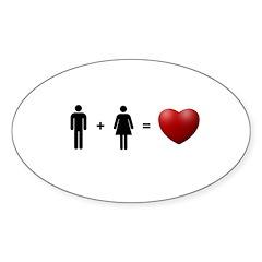Man + Woman = LOVE Sticker (Oval 10 pk)