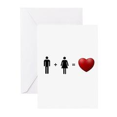 Man + Woman = LOVE Greeting Cards (Pk of 10)