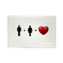 Man + Woman = LOVE Rectangle Magnet (100 pack)