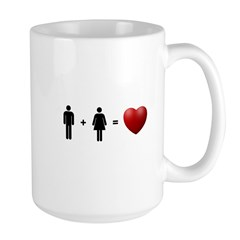 Man + Woman = LOVE Large Mug