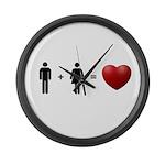 Man + Woman = LOVE Large Wall Clock