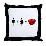 Man + Woman = LOVE Throw Pillow