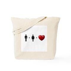 Man + Woman = LOVE Tote Bag