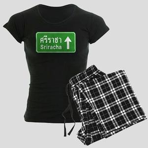 Sriracha Highway Sign Women's Dark Pajamas