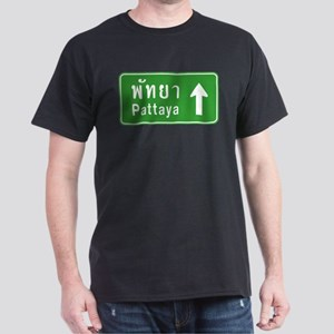Pattaya Thailand Highway Sign Dark T-Shirt