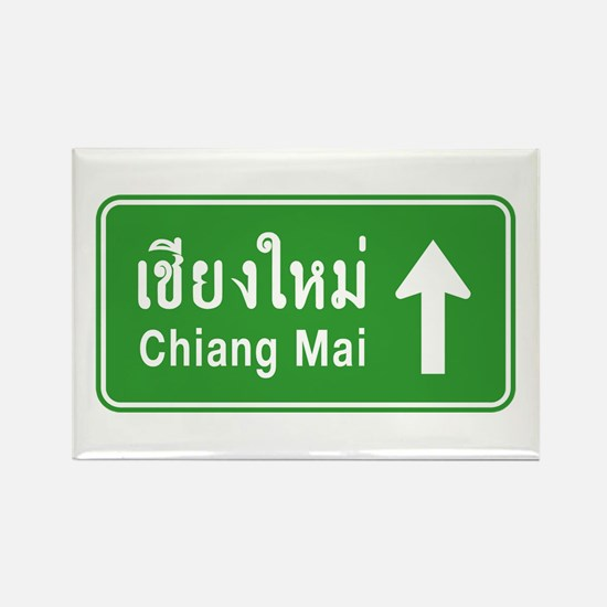 Chiang Mai Thailand Traffic Sign Rectangle Magnet
