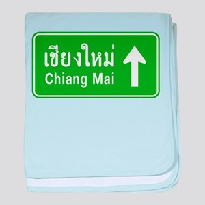 Chiang Mai Thailand Traffic Sign baby blanket