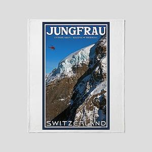 Helo over the Jungfraujoch Throw Blanket